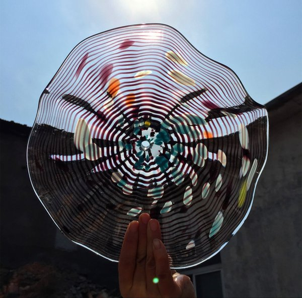 Modern Hand Made Blown Glass Flower Plates Art Decoration Murano Glass Wall Lamps Mediterranean Sea Hand Made Blown Glass Flower Plates