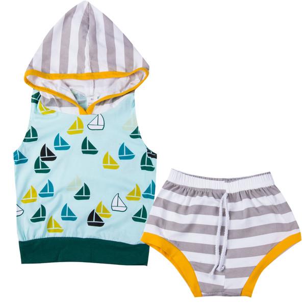 Yaz bebek Erkekler giyim seti Tank Top Tişört Kolsuz Kapşonlu Kısa Bottoms Pantolon Bebek Giyim 2adet Bebek Boys Kıyafet Seti