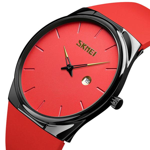 Ultradünne rote sportuhr männer wasserdicht uhren einfachen stil unisex armbanduhr auto datum casual pu männlichen schüler armbanduhr
