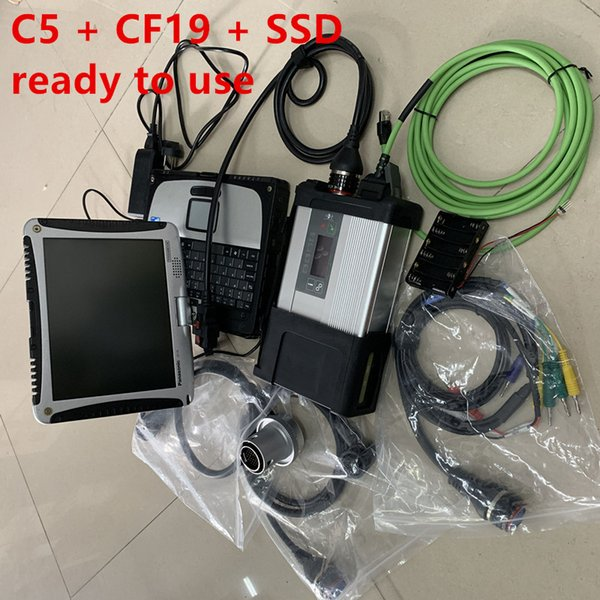 mb star c5 multiplexer and cables with cf19 laptop ssd super newest xentry full set diagnostic scanner 12v 24v ready to work