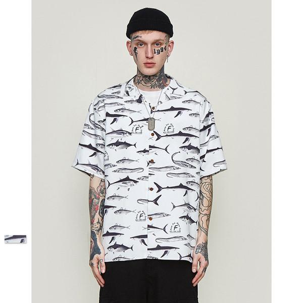 Camisas para hombre 2019 Primavera Verano Nuevas camisetas casuales Con estilo patrón de pescado salado Mangas cortas Carta suelta Impresión personalizada camiseta