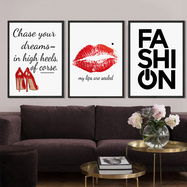 2019 Nordic Poster Fashion Inspirational Quotes High Heels Red Lips Print  Wall Art Canvas Painting Wall Picture For Living Room Decor From Copy02, ...
