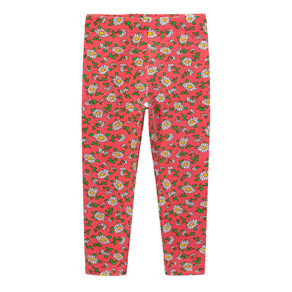Cute Girls Leggings Baby Girl Clothes Pencil Pants Cotton Kids Trousers Print Flower Skinny rose red #1098