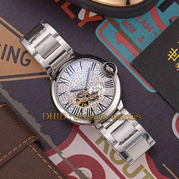 Aço inoxidável Diamond Watch Rosa de Ouro 316L carro caso BALLON Luxo Mens Relógios Designer oco Dial Homem Mulher Relógios de pulso montre de luxe