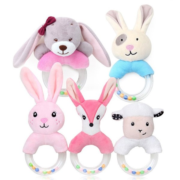 Infant handle bell Baby Cartoon Rabbit Dear Plush Rattle Ring Bell Newborn Hand Grasp Toys Soft Mobile Infant Crib Dolls