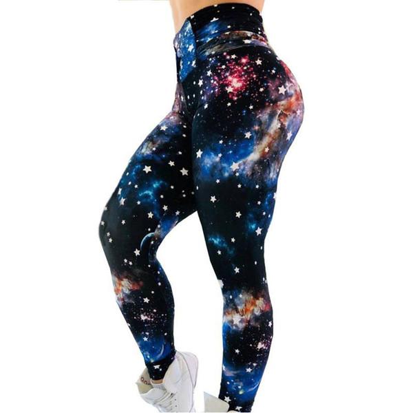 free shipping women Leggings 777 New Cosmic Star Print Sports Fitness Wear Bottoming Sports Yoga Pants Women
