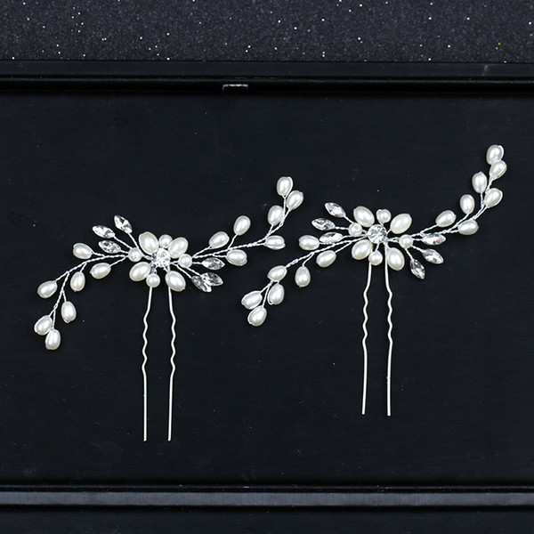 New Ladies Hair Sticks Crystal Pearl Wedding Pins capelli Fiore Sposa Wedding Pins capelli Kanzashi Accessori per le donne