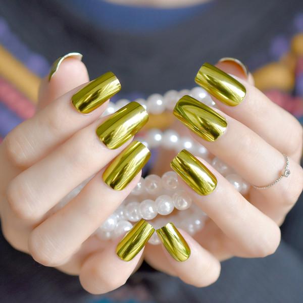 Compre Espejo De Metal Uñas Postizas Moda Oro Uña Falsa Cubierta Completa Uñas De Acrílico Consejos De Bricolaje Productos De Salón Fuax Ongles A