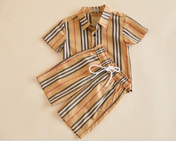 Ragazzi designer stripe pigiama enland style ragazzi pigiameria ragazze ragazzi risvolto camicia a maniche corte + pantaloncini 2 pz set cotone bambini pigiameria F765