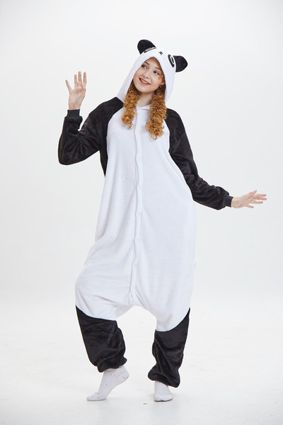 Kung fu Panda White Unisex Pajamas Cartoon Long Sleeves Hooded Adults Home Wear Mascot Costumes Sleep Wear Night Party Wear Warm