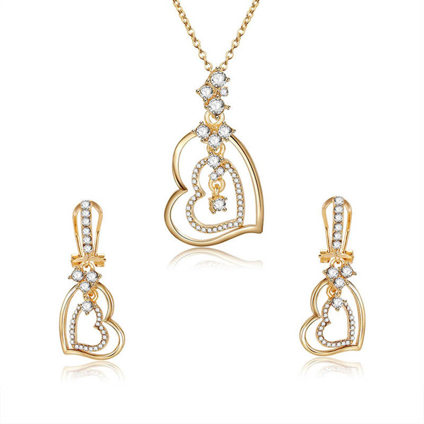 double heart necklace sets fashion zircon jewelry sets for women best gift min order 5pcs 61172479