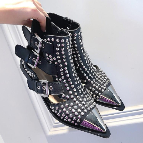Free shipping 2019 Cowskin leather hollow out flat metal pillage pointed toes SANDALS SHOES Gladiator punk Ankle boots rivets black color 01