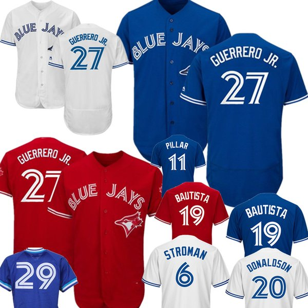 06f66eb98 2019 Vladimir Guerrero Jr. Toronto Blue Jay Majestic Jays Alternate Flex  Base Authentic Collection Player Jersey Royal Blue Red White 27 From ...