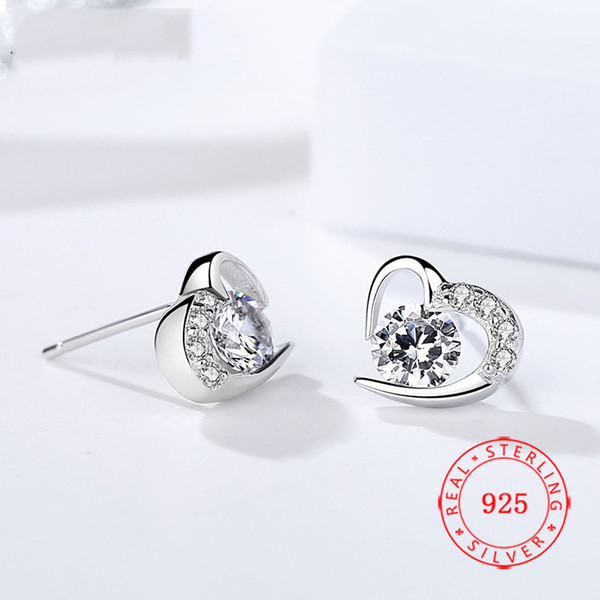 fashionable cute 925 sterling silver tiny violet cz diamond heart women stud earring 925 silver jewellery manufacturer low prices wholesale