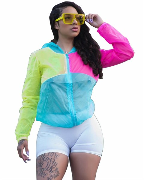 Letter Print Women Designer Coat Sunscreen Jacket Patchwork Sun Protection Jacket Tops Hooded Thin Brand Windbreaker Streetwear S-XXL C71505