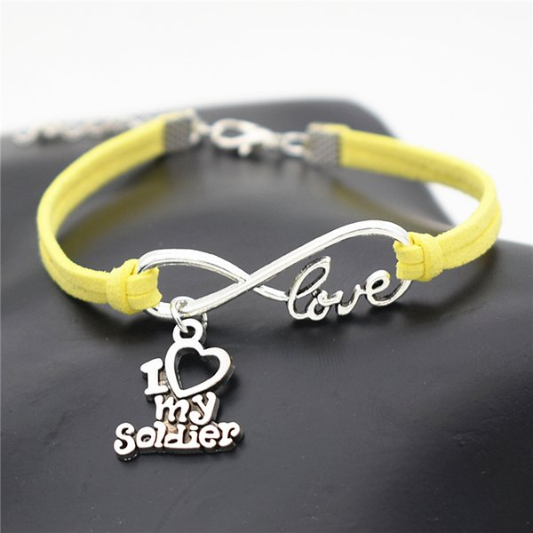 Silver Color Infinity Love I Heart My Soldier Pendant Charm Bracelet for Women Men Bangles Delicate Yellow Leather Suede Diy Bohemia Jewelry