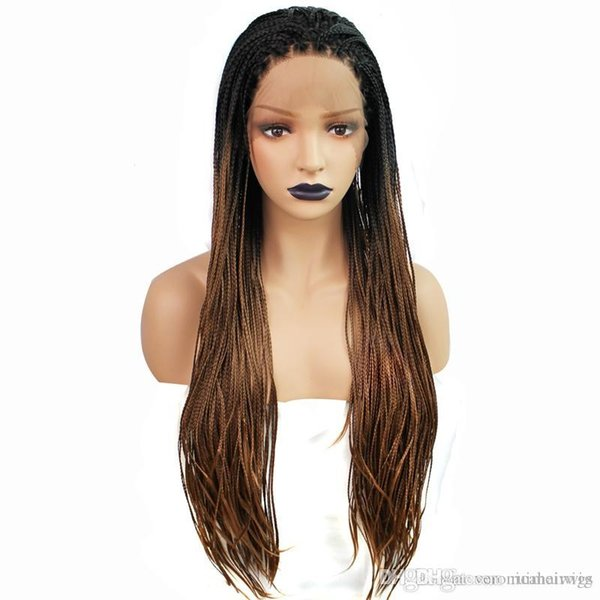 Hot Sexy Box Braided Wigs with Baby Hair Dark Roots Ombre Brown Hand Tied Heat Resistant Synthetic Braided Lace Front Wigs for Women