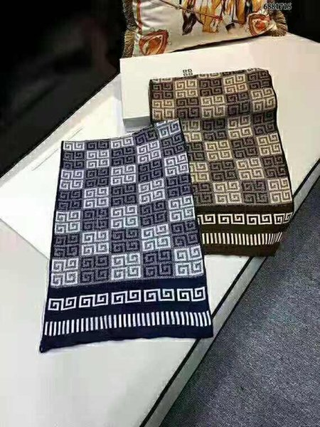 Brand men's scarf, Italian catwalk scarf of autumn/winter 2019, high-grade 100% knitted wool scarf is soft and smooth 180*30cm