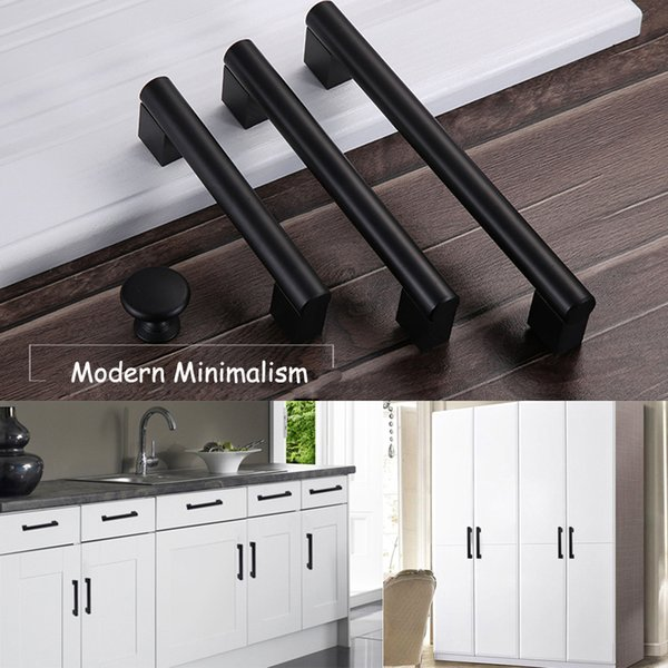 Black Aluminum Alloy Simple Door Handles Wardrobe Cabinet Cupboard Kitchen Pulls Knob Modern Furniture Minimalism Knobs