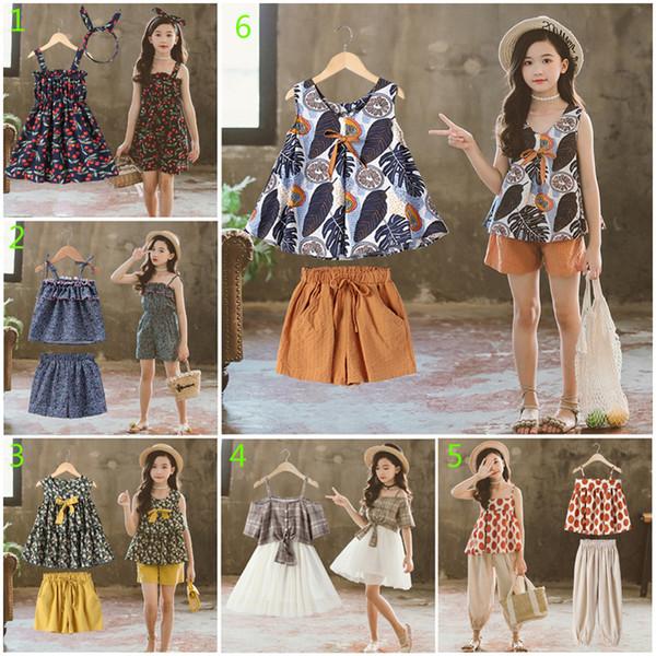 10 Stil Büyük Kızlar INS moda Yaz 2 adet set 2019 yeni Çocuk Güzel desen tops + şort veya etek setleri giyim 3-13 yıl B001