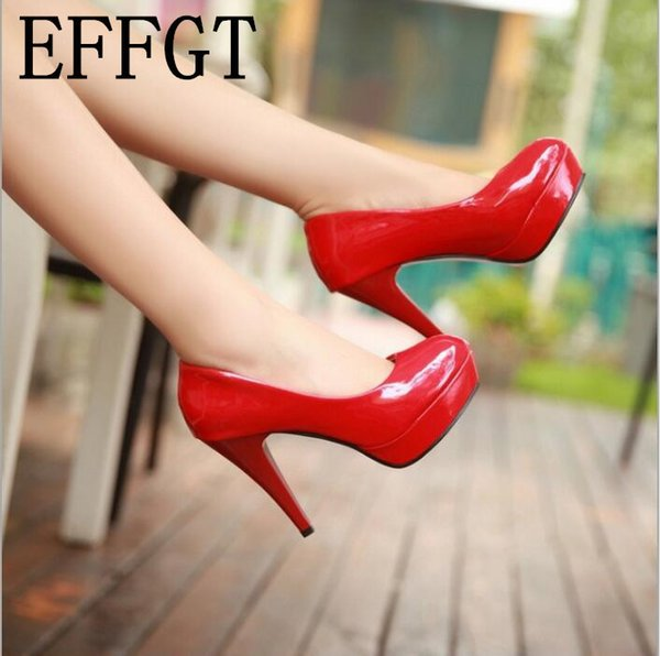 Effgt Autumn Fashion Women Shoes 2019 Pumps Waterproof Work Shoes Joker Coat Of Paint Ultra High With Round Head Shoes B954