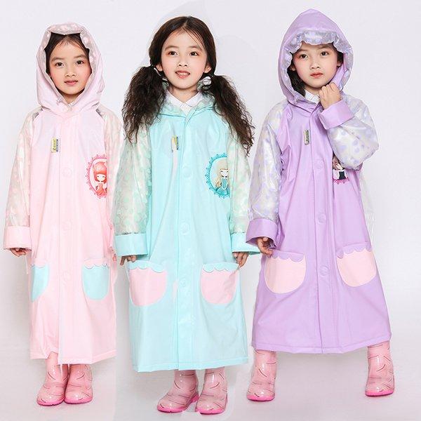 Pink Blue Yellow Cartoon Raincoat With Bag Men Moda per bambini Fun Women Studenti Raincoat Fashion Green Poncho Z806