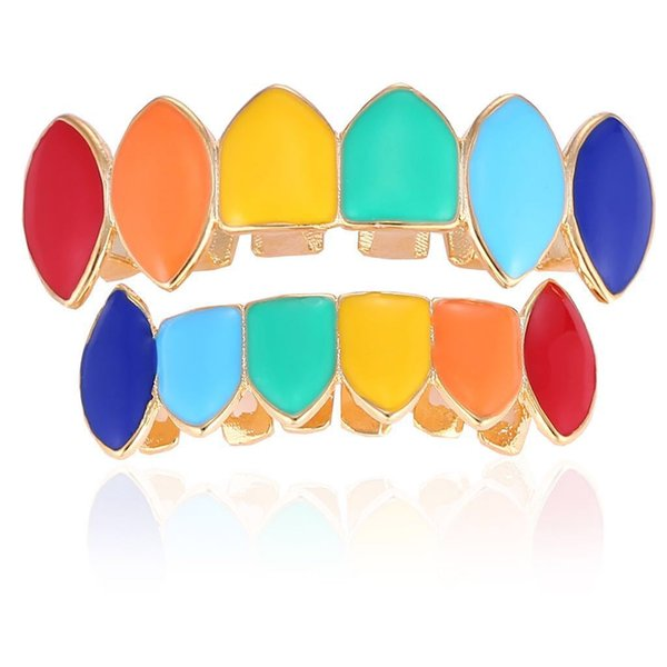Hiphop grillzs Colorful glossy surface Tooth Grillz sets Cap Top Bottom Grill for Halloween Jewelry Gifts Bling Custom Teeth