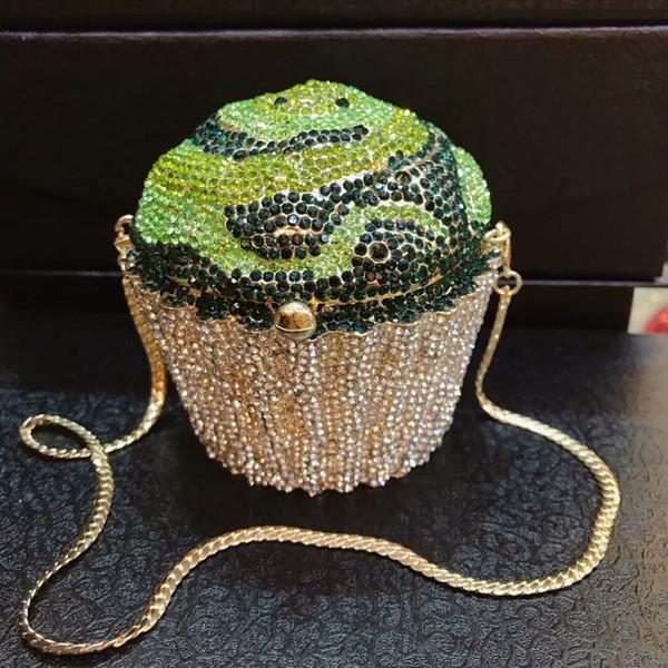 green Rhinestones Women Evening Bags Metal Minaudiere Designer Wedding Party Crystal Clutch Handbag Purse wallet shoulder bag
