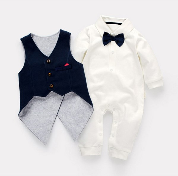 little baby gentleman Rompers toddle infants newborn tailcoat Jumpsuits tails overall boys kids Rompers+Vest Party clothes top quality 3-24M