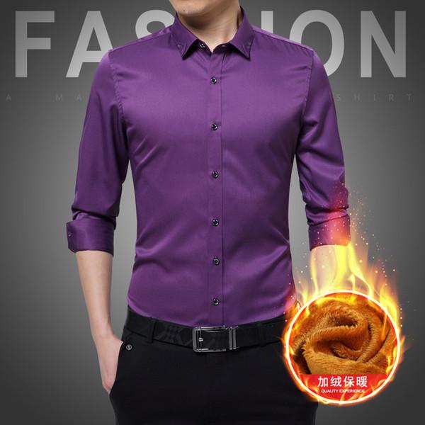 Camicia in pile Camicia da uomo Manica lunga da uomo invernale casual Colore puro