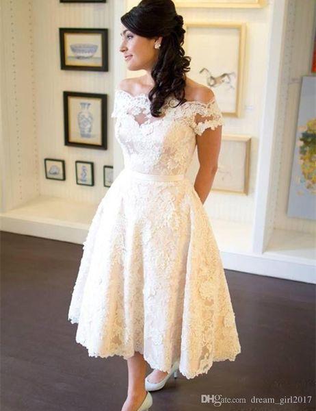 1950s Vintage Tea Length Wedding Dress Off Shoulder Short Sleeve Full Lace A Line Short Bridal Gowns Custom Size