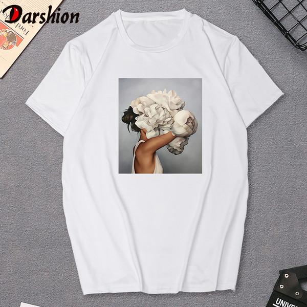 New Casual Harajuku Aesthetic tshirt Women Flowers Feather Print t shirt Summer Short Sleeve Clothes Fashion Female t shirt