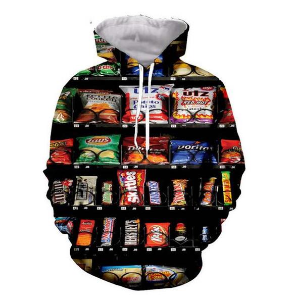 Distributeur automatique Hoodie Sweats à capuche Homme Femme manches longues imprimé All Over Pull à capuche Hauts Casual Sweat 3D Taille Plus SSY0146