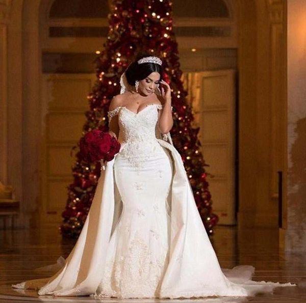 Nouveaux robes de mariée africains Overskirts Plus taille dentelle Appliques de l'épaule robe de mariée sirène Perles Paillettes Plus la taille robes de mariée