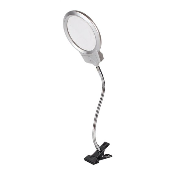Clip On Desktop Illuminated Magnifier Magnifying Glass Reading Loupe  Lamp Top Desk Magnifier With Clamp Drop Shipping