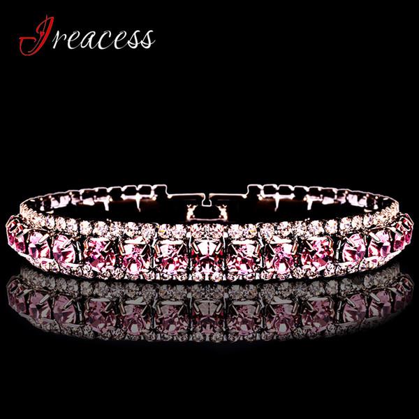 2018 Nuovo braccialetto di fascino di nozze per le donne braccialetti di cristallo nuziale austriaco braccialetti regalo di gioielli di colore oro argento di modo