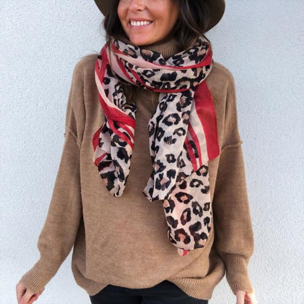 2019 tendencia de la moda Extra Large Animal del estampado leopardo de las mujeres de peso ligero suave todos los días de la bufanda informal único nuevo invierno abrigos de cuello