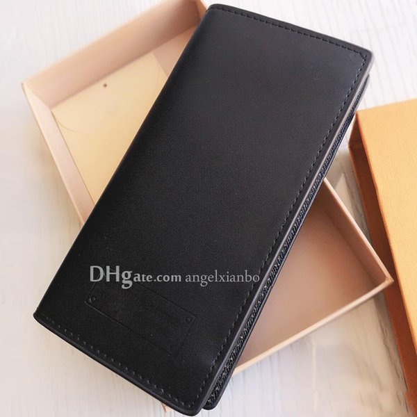 top popular famous design Men's Business long Wallet L U Purse Cardholder Upscale Gift Box Card Case holder coins high quality classic leather purse 2020