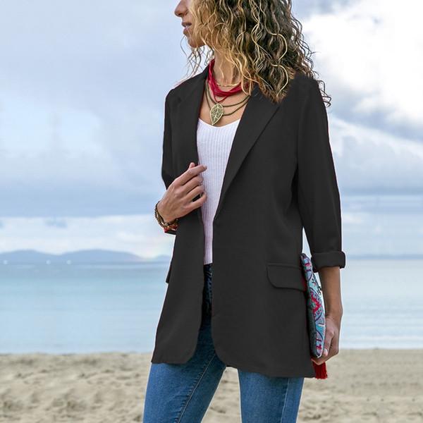 Женская стильная сплошная блейзеры Мода с длинным рукавом с открытым стежком пиджак Feminino Плюс Размер Женская куртка Повседневная Верхняя одежда Топы # 408596