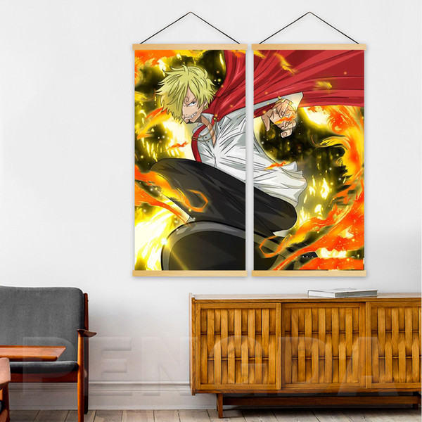 Wall Art Canvas Pictures 2 Panel Anime One Piece Sanji Poster Wooden Scroll Hanging Painting Print Home Decoration For Kid Room