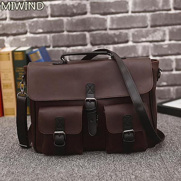 Men Bag Vintage Postman Bags Mens Business Laptop Retro Top-handle Bags Leather Handbag Male Travel Shoulder Pocket Tote 17