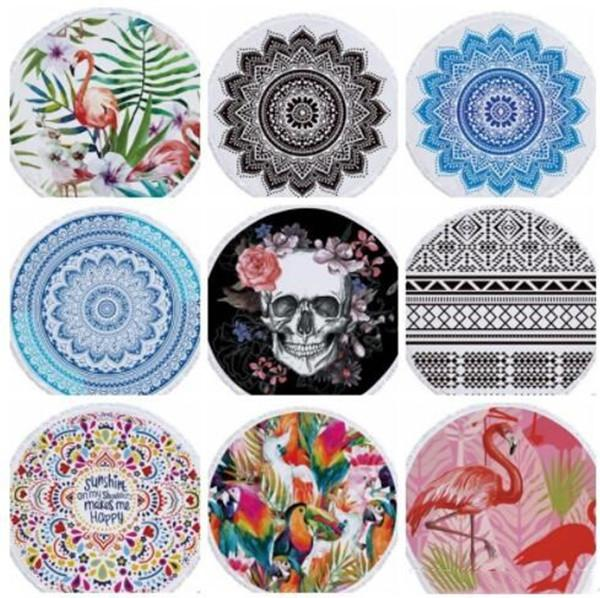 top popular Beach Chiffon Blanket Women Shawl National Style Cartoon Printed Round Beach Blanktets Summer Plage Picnic Rug Yoga Mat WY436Q 2021