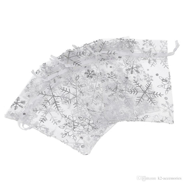 100 Stücke WEIßE SCHNEEFLOCKE SILBER Organza DRAWSTRING Schmuck Verpackung Beutel Hochzeit Gunsten Geschenk Taschen 7x9 cm / 9x12 cm / 13x18 cm