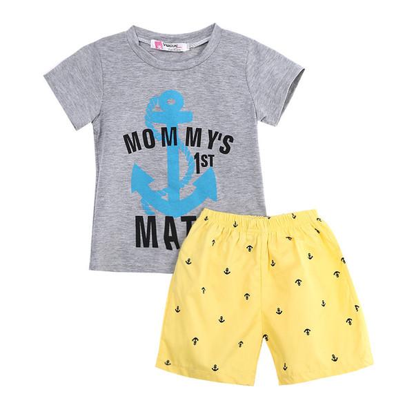 Çapa Mektuplar Rahat Pamuk Çocuklar Bebek Erkek 2 Adet Kıyafetler Tişört Tops + Kısa Pantolon Set 2-7Y