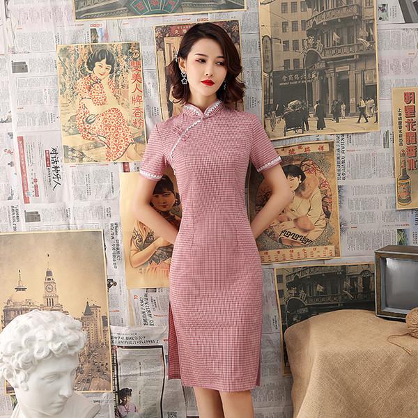 Англия стиль плед Cheongsam короткое платье Молодая девушка моды Ежедневно хлопок белье Qipao Вечерние платья партии Новые китайские платья