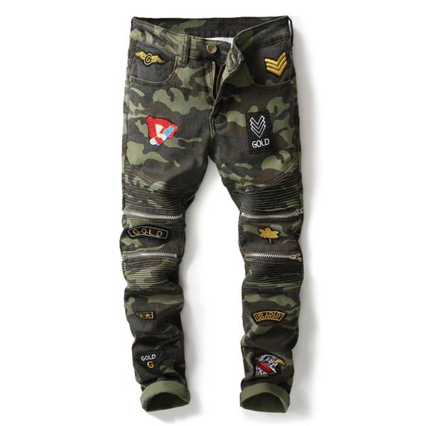 Mans Dikiş Kamuflaj Kot Moda Erkek Giyim Hip Hop Patchwork Diz Fermuar Tam Boy Kalem Pantolon