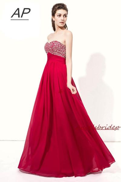 Günstige lange Brautjungfernkleider Großhandel vestido madrinh Sexy Schatz Chiffon Vestido Madrinha Formal Party Gown