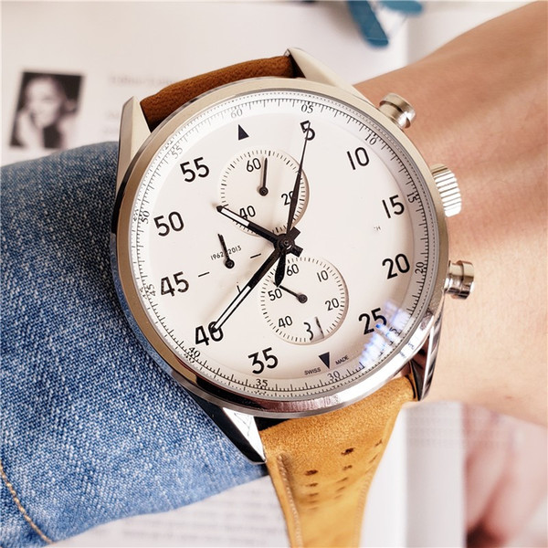 Luxury Mens Watches SPACEX 1887 Watch Quartz Movement Leather Strap Watches First Swiss Wristwatch in Space Free Shipping
