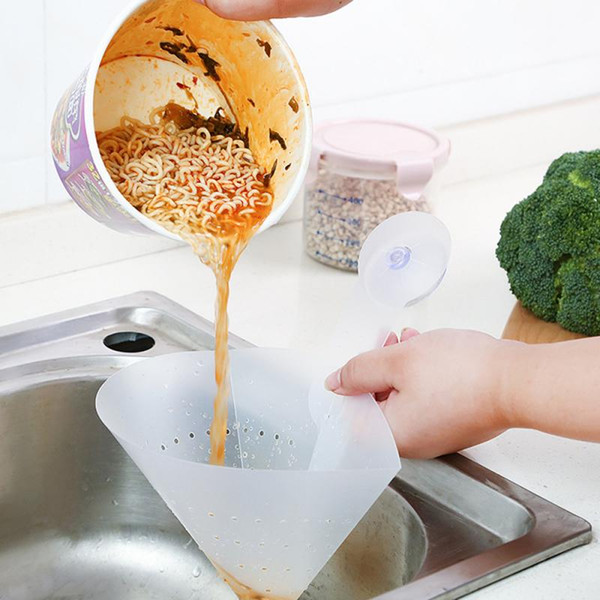 top popular Kitchen Tools Suction Cup Dish Basket Sink Food Waste Drain Basket Strainer Stopper Garbage Recyclable Collapsible Drain Filter Self-standin 2021