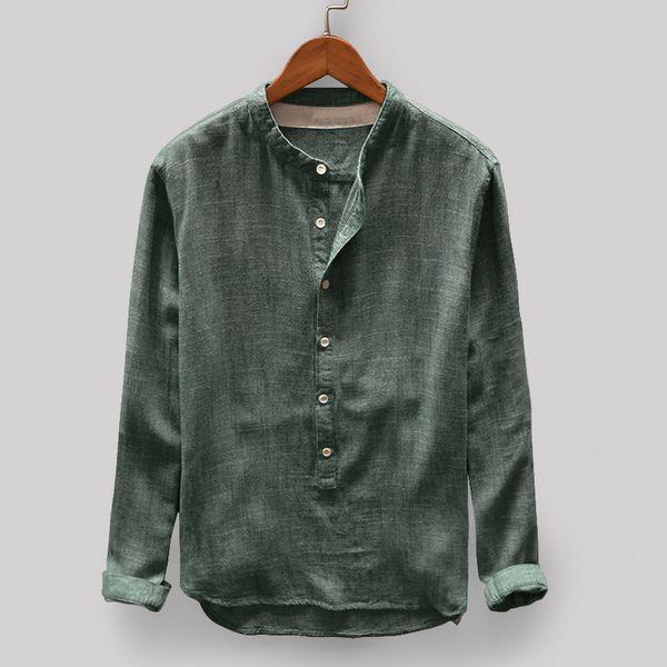 2019 Nuevo Llega Camisa de lino de algodón de alta calidad Hombres Sólido Henry Collar Camisas casuales Slim Fit Camisa para hombre de manga larga